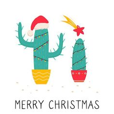 Printable Christmas Cards - Merry Cactus Tree Lights Star Free Printable Christmas Cards, Cute Christmas Cards, Christmas Cactus, Christmas Star, Merry Christmas And Happy New Year, Cactus Gifts, Watercolor Cards, Homemade Gifts, Diy For Kids