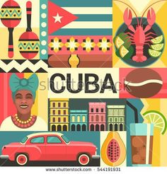 Vector illustration with Cuban culture and food icons, including maracas, retro car, dish with lobster, architecture and portrait of Cuban Woman in trendy flat style. Vintage Cuba, Retro Poster, Vintage Travel Posters, Havanna Party, Havana Nights Party Theme, Cuba Art, Map Cuba, Cuban Decor, Cuba Culture