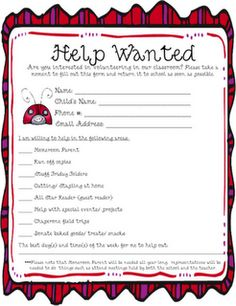 Help Wanted- Parent Volunteers Creative Teaching, Teaching Tools, Teaching Resources, Classroom Fun, Future Classroom, Too Cool For School, School Stuff, Parent Volunteers, First Day Of School Activities
