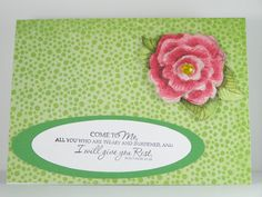 Handmade Card - Bible Verse - Encouragement - Matthew 11:28 I Will Give You Rest. $2.95, via Etsy.