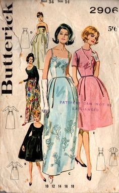 969ff5d93aa Butterick 2906 Womens Bell Skirted Evening Gown 60s Vintage Sewing Pattern  Size 14 Bust 34 inches