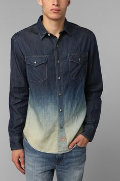 Koto Dip-Dye Denim Button-Down Shirt