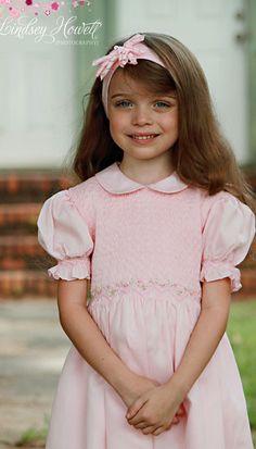 Girls pink princess smocked dress hand smocked