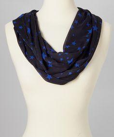 Black & Blue Stars Infinity Scarf