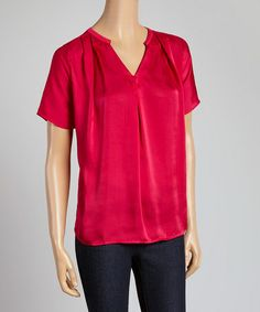 Love this Dark Peony Pleated V-Neck Top by Violet and Claire on #zulily! #zulilyfinds