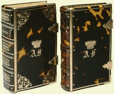 """1776 British Bible (left) and Prayer Book (right) at the Royal Collection, UK - From the curators' comments: """"This Bible, along with a Prayer Book, was bound in tortoiseshell, with gold inlay and gilt spine-hinges and clasps. The simpler decoration on the Prayer Book, and variations in the shape of the coronets, suggest that the bindings were not executed by the same binder at the same time."""""""