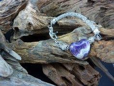 Beautiful Amethyst Heart Bracelet with Viking Knit Chain - Handmade in America by carolesart on Etsy
