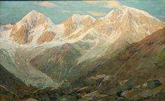 Beim Bild, das das Dreigestirn Königsspitze, Zebrù, Ortler (von links benannt zeigt, ist die der Sonnenstand weder klar erkennbar, noch realistisch, da es sich hier um Nordwände handelt, die auch bei hellstem Licht klare Schattenpartien aufzuweisen haben. Für mich nur als Frühwerk denkbar.