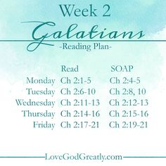 {Week 2 - Reading Plan} #Galatians Bible Study @ LoveGodGreatly.com