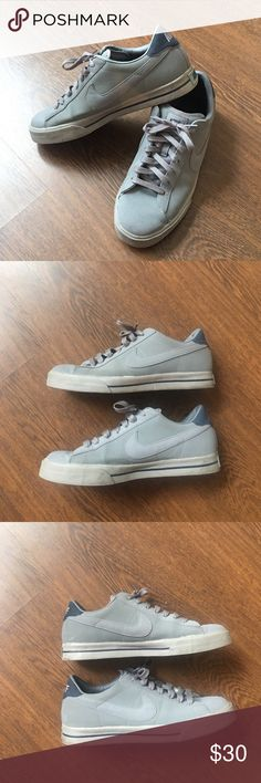 Nike Sweet Classic Gray Leather Men's 10 Shoes Nike Sweet Classic Sneakers. 318333-040. Gray and navy blue leather kicks. Men's size 10. Lightly worn with a couple scuffs. Over all great condition. Nike Shoes Sneakers