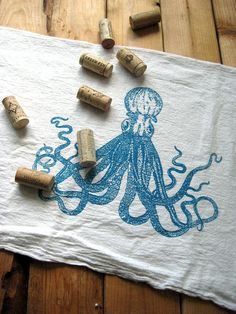 Tea Towel Screen Printed Organic Cotton Octopus by ohlittlerabbit, $10.00