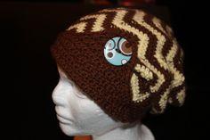 Womens Slouch Hat - Crochet Chevron Slouch - slouchy beanie - Zig Zag Hat…