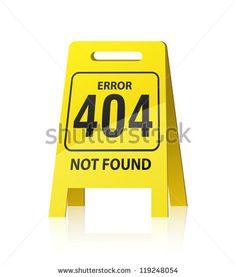 """404 오류입니다.  노란색 """"젖은 바닥""""스타일 기호입니다.  EPS10 벡터."""