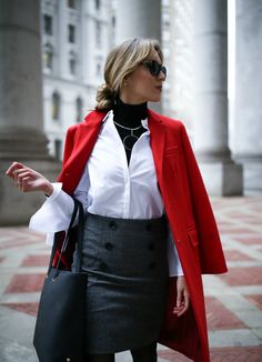 Bell sleeves work for the office, too! Style it  with a black turtlencek and pencil skirt, just like this blogger did! Add some color by throwing on a red coat!