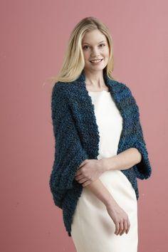 Simple Crochet Shrug ~ Free Lion Brand Pattern using Homespun Thick & Quick Yarn