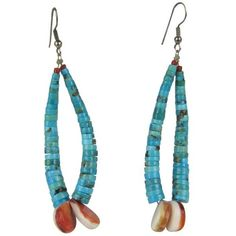 Preowned Santo Domingo Pueblo Heishe Turquoise, Clam Shell Coral... ($550) ❤ liked on Polyvore featuring jewelry, earrings, red, seashell earrings, turquoise jewelry, shell earrings, pre owned jewelry and coral earrings