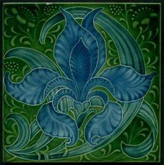 """Exotic Original Art Nouveau Tile, Produced by Pilkington's the Artist Was Lewis F. Day """"Iris"""" Tile, English, ca.1900"""