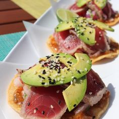 Ahi there! #AhiTuna Tostadas with jicama, cilantro, pickled red onion, avocado and spicy tomato salsa. #foodiefriday #yesplease! #feelslikesummer #fstaste