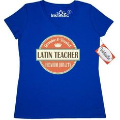 Inktastic Latin Teacher Funny Gift Idea Women's V-Neck T-Shirt Retired Occupations Job Vintage Logo Clothing Apparel Career Tees Adult Hws, Size: Large, Blue