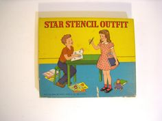 Star Stencil Outfit. 16 vintage stencil pages in box. 1950 Platt & Munk Co. Kids arts and crafts set mid century toys. by PickleladyVintage on Etsy