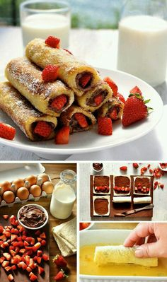 Strawberry Nutella French Toast Roll Up – a breakfast treat that tastes like an awesome doughnut! So easy and fast to make. Strawberry Nutella French Toast Roll Up – a breakfast treat that tastes like an awesome doughnut! So easy and fast to make. French Toast Roll Ups, Nutella French Toast, French Toast Receta, French Toast Recipes, Delicious Desserts, Yummy Food, Healthy Food, Healthy Rice, Easy To Make Desserts