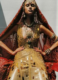 Natalia Semanova in 'Couture du Monde'  Photographer: Ruven Afanador  Dress: Atelier Versace F/W 1999/00  Vogue Paris September 1999