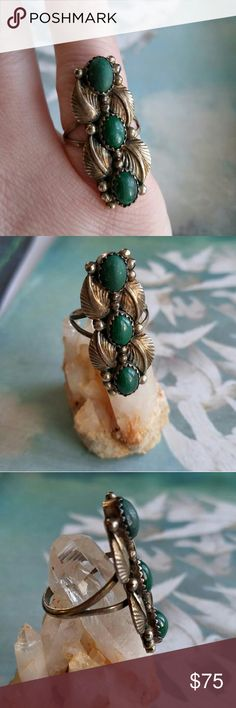 Vintage Native Malachite Ring sterling silver boho Vintage Native American made ring - made of solid sterling silver- three malachite stones are set in a leaf setting - signed STERLING on the back- ring is in very nice condition. It has some age patina which I will leave unpolished. One end stone has a matte finish where the shine has come off, barely noticeable! From a smoke free home :)  81288green888 Vintage Jewelry Rings