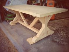 X Base Farm Table & Bench - alex david design Diy Dining Room Table, Kitchen Table Bench, Trestle Dining Tables, Wood Table, Outdoor Farm Table, Farm Table With Bench, Rustic Wood Furniture, Farmhouse Furniture, Diy Furniture