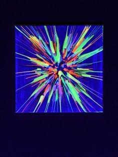 """Schwarzlicht Kunst - Bild auf Leinwand Acryl """"Tuning Fork Flower"""" #blacklight #schwarzlicht #art #psywork #neon #glow #psy #party #deco #effects #painting"""