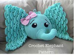 So cute!  Check out-->http://coolcreativity.com/crochet/crochet-elephant-pillow-pattern/