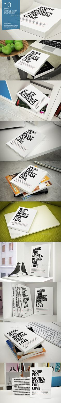 This pack provides 10 psd files with book mock-ups for your book presentation. Just change the cover with your own design and save