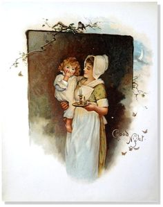 "Children's Antique Prints-Harriet M. Bennett by EarlyRiverGallery *Artist: Harriet M. Bennett & Robert Ellice Mack and others. *Title: ""Good Night""  *Image Size: 5 1/2"" x 7 1/2""  *Outside paper size 7 1/4"" x 9 1/4""   *Original hand colored Chromolithograph *Dated 1895 *From The Volume: ""When All is Young"" *Published by Nister and Dutton New York,& London 1895  *Printed in Nuremberg  *First Edition"