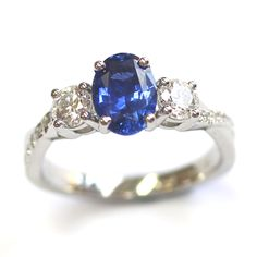 Platinum Blue Sapphire and Diamond Trilogy Engagement Ring, Form Bespoke Jewellers, Leeds, Yorkshire