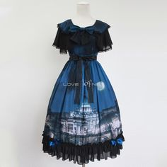 Customized Vatican Castle Pattern Lolita Chiffon Dress 3 Colors