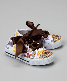 White Flower Power Bling Canvas Sneaker | Daily deals for moms, babies and kids