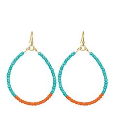 Take a look at this Turquoise & Coral Caroline Teardrop Earrings on zulily today!