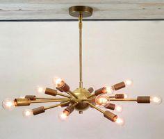 18 Light Mid Century Brass Sputnik atomic by Nauticalvintagee Sputnik Chandelier, Chandelier Ceiling Lights, Ceiling Canopy, Modern Wall Sconces, Modern Ceiling, Light Fittings, Light Fixtures, Starburst Light, Swirl Design