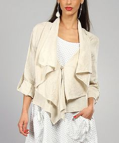 Loving this 100% LIN BLANC Sand Agathe Linen Open Jacket on #zulily! #zulilyfinds