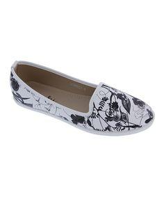 Another great find on #zulily! Black & White Floral Scarlet Flat by Machi Footwear #zulilyfinds
