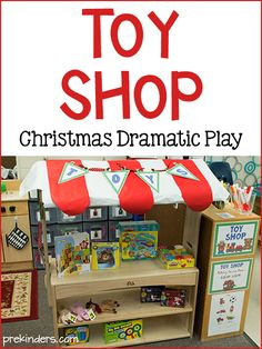 During this month of December, we have a Toy Store in our dramatic play area. Each month, I have been posting a different dramatic play center from our classroom, and so far, I've shared our Dramatic Play Area, Dramatic Play Centers, Prop Box, Role Play Areas, Preschool Toys, Playgroup Activities, Preschool Centers, Preschool Christmas, Christmas Toys