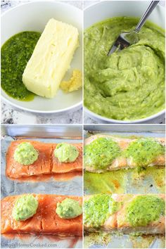 Baked salmon fillets with fresh pesto butter on top. A quick salmon dinner done in 15 minutes from start to finish. Baked Salmon Recipes, Seafood Recipes, Cooking Recipes, Salmon Dinner, Meal Prep Salmon, Butter Salmon, Grilled Salmon, Pesto Salmon Baked, Recipes