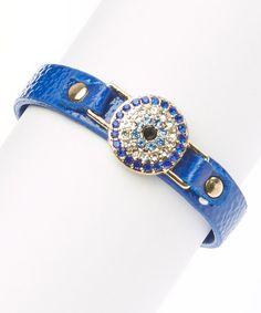 Gold & Sapphire Bedazzled Evil Eye Bracelet by LCO Jewelry #zulily #zulilyfinds