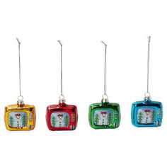 Snowman TV Ornament Set Of 4, $8.50, now featured on Fab. [Found by Fab]
