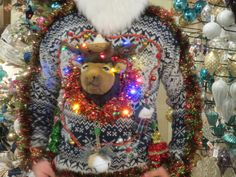 Reindeer Head Tangled in Lights Light up Ugly Christmas Sweater Wild Garland Mens size L bells Fun Funny Trophy Reindeer in Wreath by tackyuglychristmas on Etsy Funny Trophies, Reindeer Head, Good Humor, Fun Funny, Ugly Christmas Sweater, Tangled, Being Ugly, Light Up, Garland