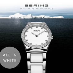 White Ceramic watch for women; BERING watch; women's watch; Ceramic Collection