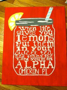 Alpha Omicron Pi Sweet Tea Painting. $18.00, via Etsy.