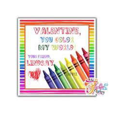 Valentine's day Custom Printable Tags- Tags-Happy Valentine's Day- Color Pencils theme- Personalized inches Tags- Stickers DIY Favor Tags- Color my World Valentine's tag Valentine Theme, Happy Valentines Day, Printable Tags, Printables, Birthday Thank You, Paper Tags, Diy Stickers, Sticker Paper, My World