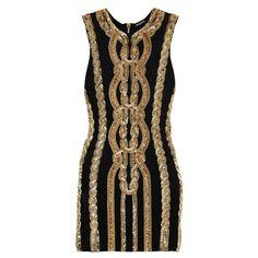 Balmain Embellished stretch-jersey mini dress ($4,565) ❤ liked on Polyvore featuring dresses, black, short sequin cocktail dresses, short beaded dress, beaded mini dress, sequin cocktail dresses and print dress