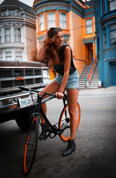 orange, bike, colour and the women!