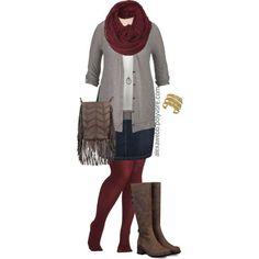#plus #size #outfit Plus Size - Fall Denim Skirt by alexawebb on Polyvore Alexa Webb